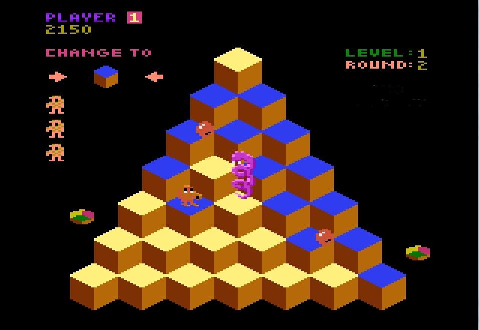 Q*bert screen shot taken by Retro Game Guy